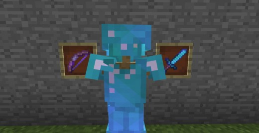 An enchanted bow, set of diamond armor and diamond sword (from left to right)