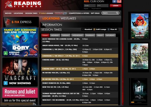 http://readingcinemas.com.au/locations/theatre/westlakes sessions 19-6-2016