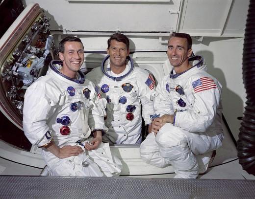Command Module pilot, Don F. Eisele, Commander, Walter M. Schirra Jr. and Lunar Module pilot, Walter Cunningham.