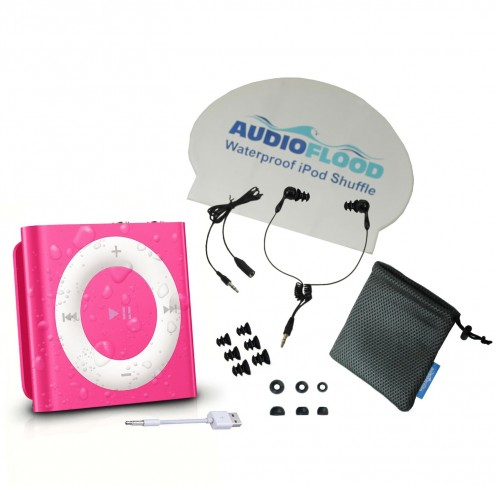 This waterproof Apple iPod Shuffle with short cord headphones is perfect for those who love music and swimming