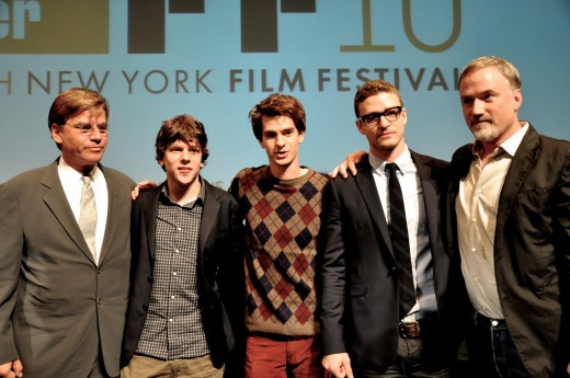 The cast - second to the left (Jesse Eisenberg), middle (Andrew Garfield), second to the right (Justin Timberlake), and far right (David Fincher).