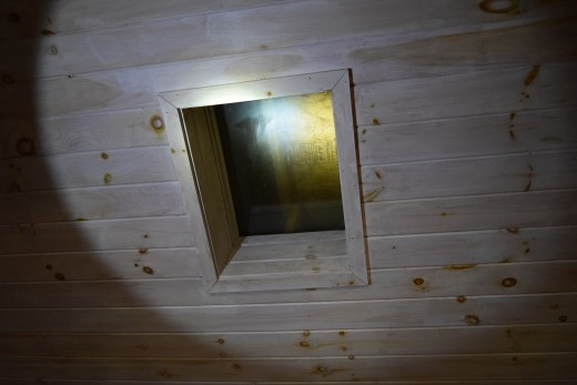 We found this skylight had a new roof built over top of it.