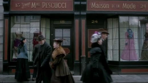 Screenshot from Penny Dreadful: costume designer Pescucci gets a namecheck