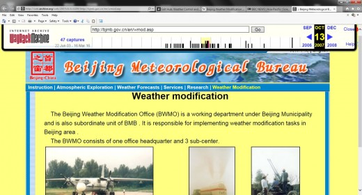 Screenshot of archives caching an old page from Beijing Weather Modification Office