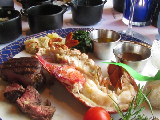 For dinner at Cagney's Steakhouse I had a surf and turf with steak and lobster. Included in our package was dinner at any specialty restaurants with alcoholic beverages at no charge.