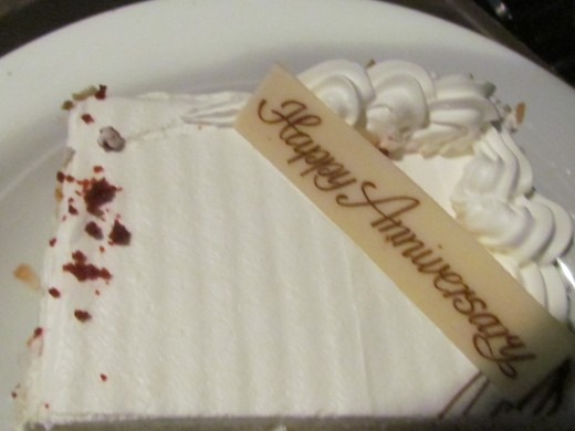 An anniversary cake was delivered to our room from Cagney's Steakhouse later that evening.