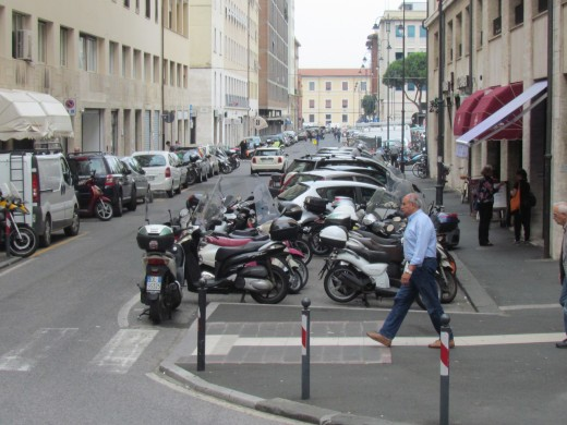 Motorcycles, are some of the main vehicles used in Livorno. Italy.