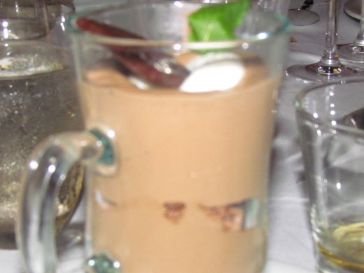 Chocolate pudding, was served as one of our desserts.