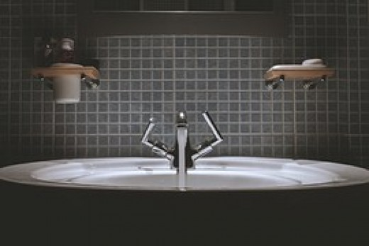 This space-age design for a bathroom faucet is what some people put in their bathrooms today