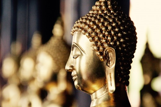 Gold Buddha Meditation Statue at Temple in Bangkok Thailand Travel Guide Tour