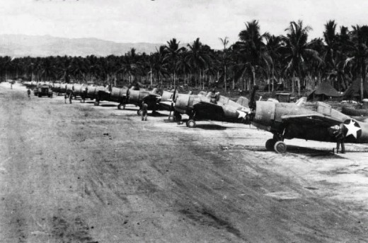 "Marine F-4 Wildcats at Henderson Airfield in Guadalcanal, 1943. Allied aircraft based from this airfield were known as ""The Cactus Air Force""."