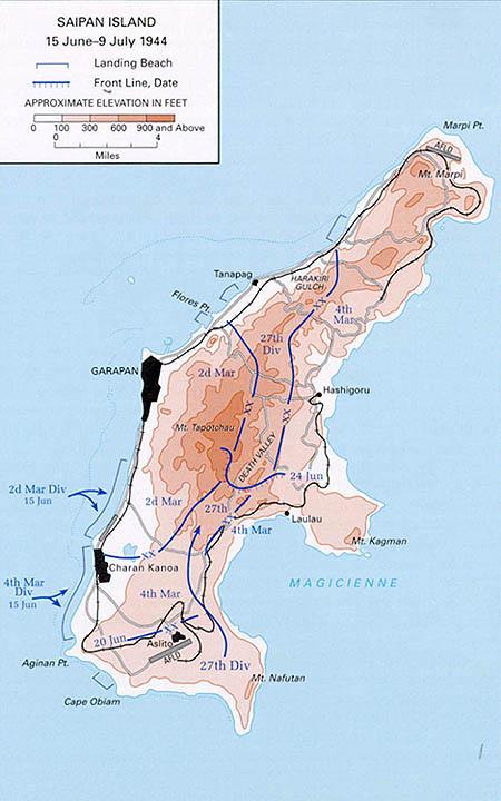 Battle of Saipan operational map