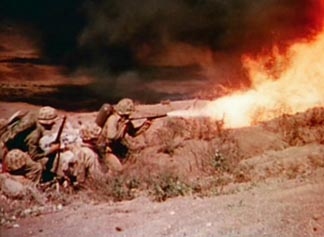 "Flamethrowers were used extensively by Marines throughout the Pacific's ""Island Hopping Campaign"" to neutralize Japanese fortified defensive positions."