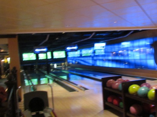 The bowling alley on Epic where we played a game.