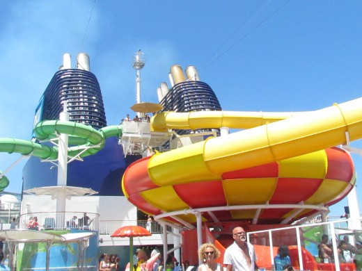 The waterslide many of the children enjoyed during the day on the ship.