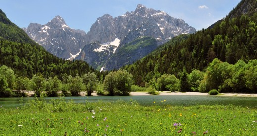 View from the town Kranjska Gora in north-west Slovenia across Lake Jasna to the Julian Alps with Razor (left) and Prisojnik (right).