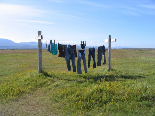 Washing line in Iceland