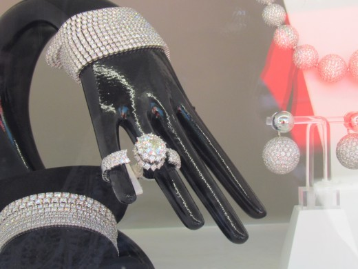 A beautiful ring in the store window of Prada downtown Monte Carlo.