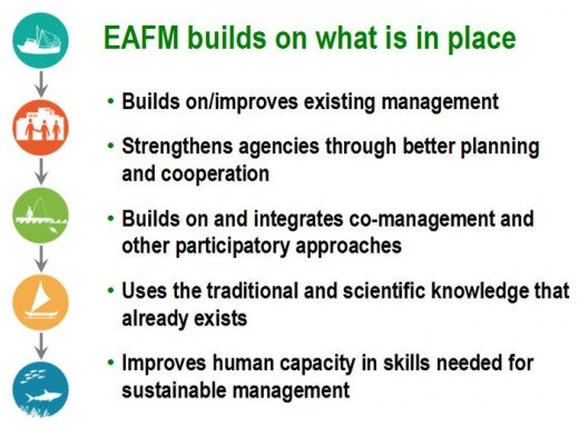 The goals and concepts of the EAFM are mainly to promote sustainability, strong regulation and human well being.