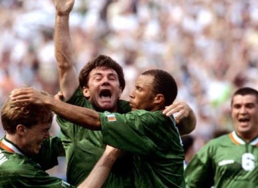 Ray Houghton celebrating his famous goal vs. Italy, till now the most famous moment in Irish football history