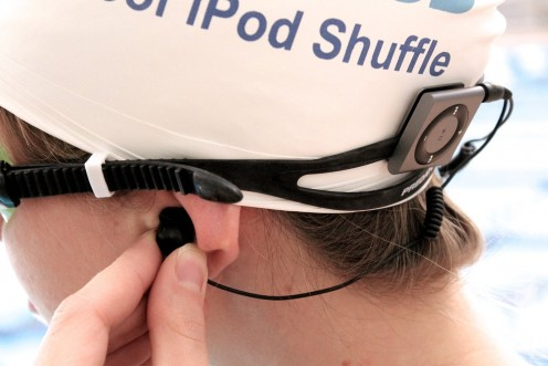 Waterproof Apple iPod Shuffle by AudioFlood with True Short Cord Headphones