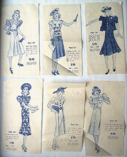 "PATTERN INSERTS SHOWING ""NEW"" STYLES OF DRESSES, AND THEIR PRICES..."