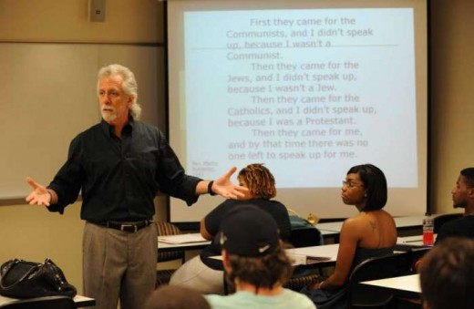 A professor who teaches History is required to have a Master's or Doctorate degree in order to teach in a collegiate level.
