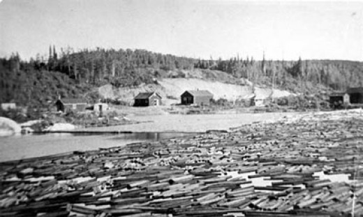 Logging Camp on shores of the Aguasabon River in the 1930s