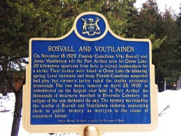Historical Plaque dedicated to Vilijo (Victor) Rosvall and John (Janne) Voutilainen