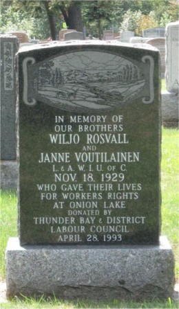 Tombstone erected in 1993