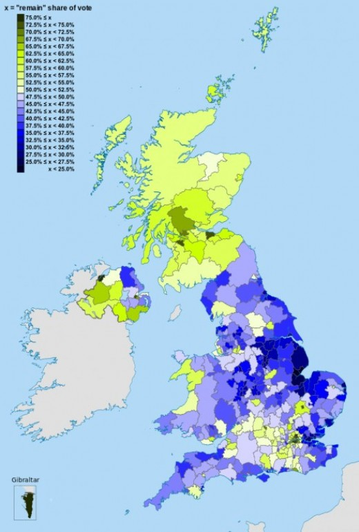 A map of the United Kingdom also showing how they voted to exit the European Union