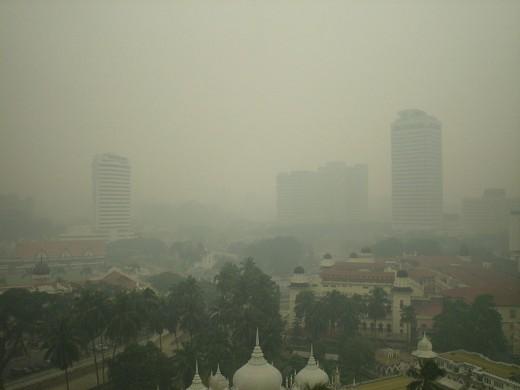 Heavy smog in Kuala Lumpur, Malaysia