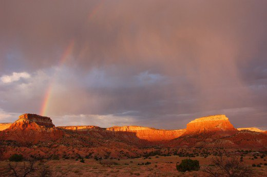 The Ghost Ranch in New Mexico (former home of Georgia O'Keefe) often provides visitors with spectacular desert panoramas Source: wiki commons