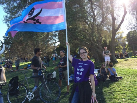 Waving a pirate version of the trans flag before walking in the San Francisco Trans March 2016. Equality ahoy!