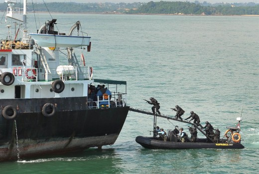 Piracy demonstration in the Strait of Malacca.