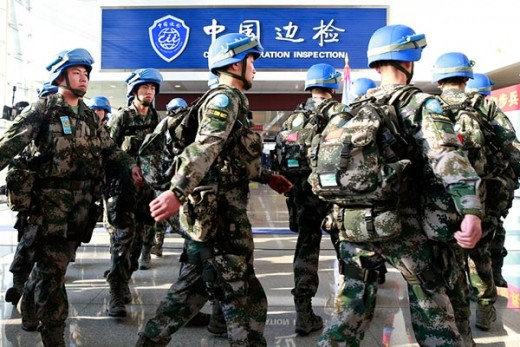 Chinese peacekeeping troops preparing to travel to South Sudan.