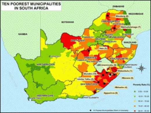 Poverty rates across South Africa.