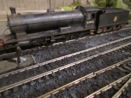 (Hornby) Q6 63443 rests between duties before working back to Haverton Hill near Billingham with mineral empties