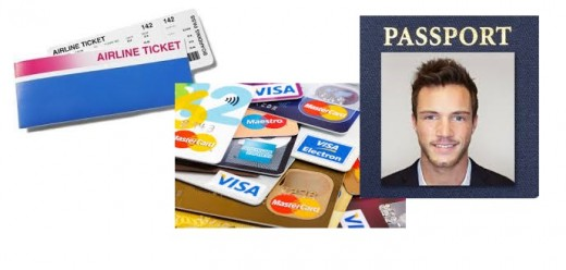 credit/debit card, passport size photo, tickets
