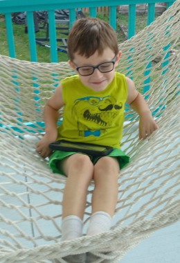 Another photo just before the trip to Boston's doctors....He tell us how brave and strong he is...and he showed me he is very strong by getting in and out of this hammock all by himself.