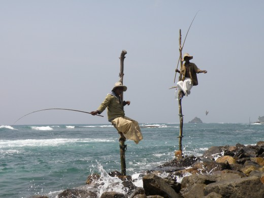 Men fishing in Sri Lanka.