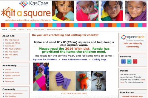 The Knit a Square website; screenshot by AliciaC