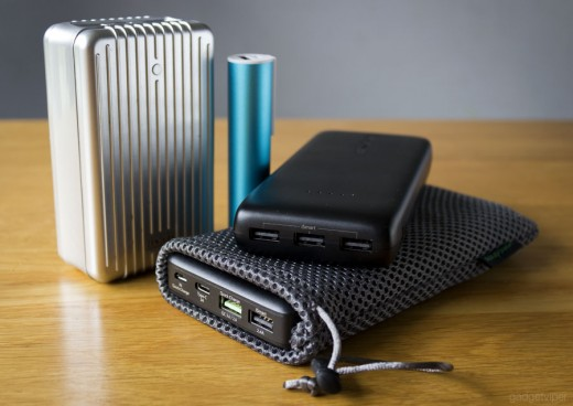 A selection of popular power banks in various sizes