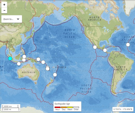 Source of data= USGS (map displaying magnitude 6.6 earthquake in Sumatra plus 12 earthquakes of magnitude 6.0-6.3 which occurred during the 20 days that followed.