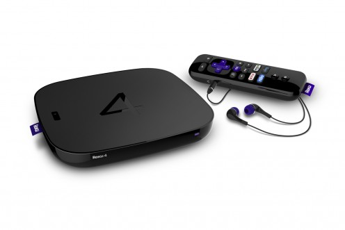 The Roku 4 has a power switch along the left side of the device.