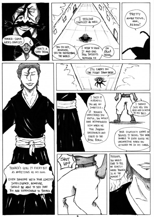 An illustrated page of a chapter from my own fan fiction.  Notice the arrogance of Aizen and the stubbornness of Nanana.  Characters are from Bleach.