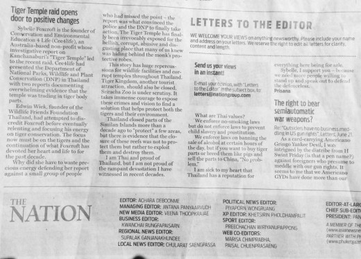 I honestly thought my original version of this letter to the editor of The Nation (Thai English Language Newspaper) was too strong and didn't have a chance of getting published.