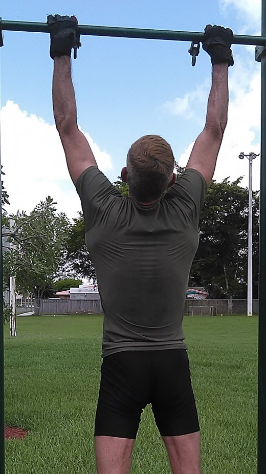 Chi-ups were on Friday's exercise menu. A 2 mile forced march followed a bodyweight conditioning routine.