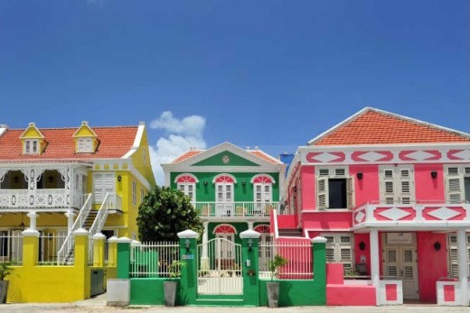 Colorful homes pop out even more against the clear blue skies of the island Copyright Curacao Tourist Board