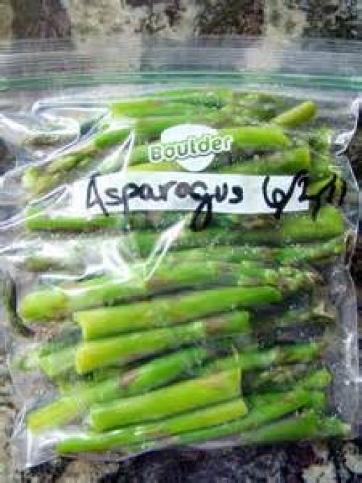 Vegetables in a freezer bag, marked with date/